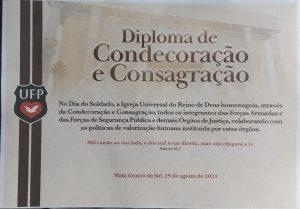 Agentes de Segurança Pública recebem homenagem da Igreja Universal em Ponta Porã